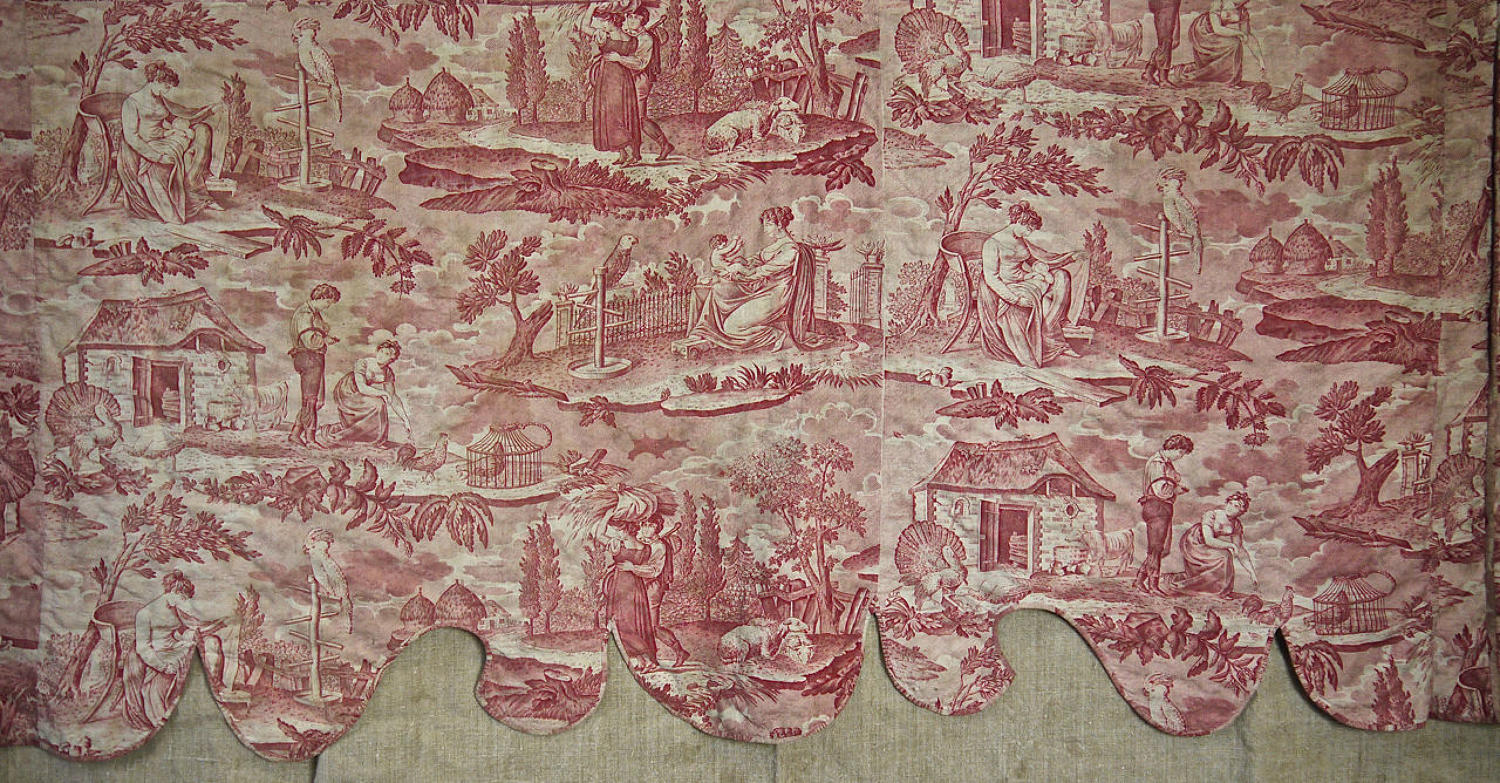 Red Toile with Cockatoos Pelmet French 19th Century