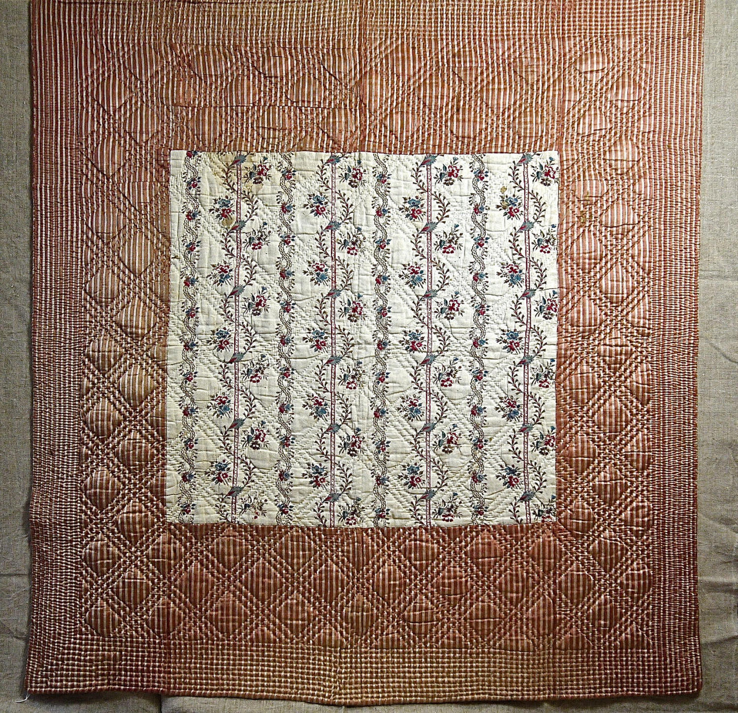 Blockprinted Flowers Cotton and Striped Silk Quilt French c.1780