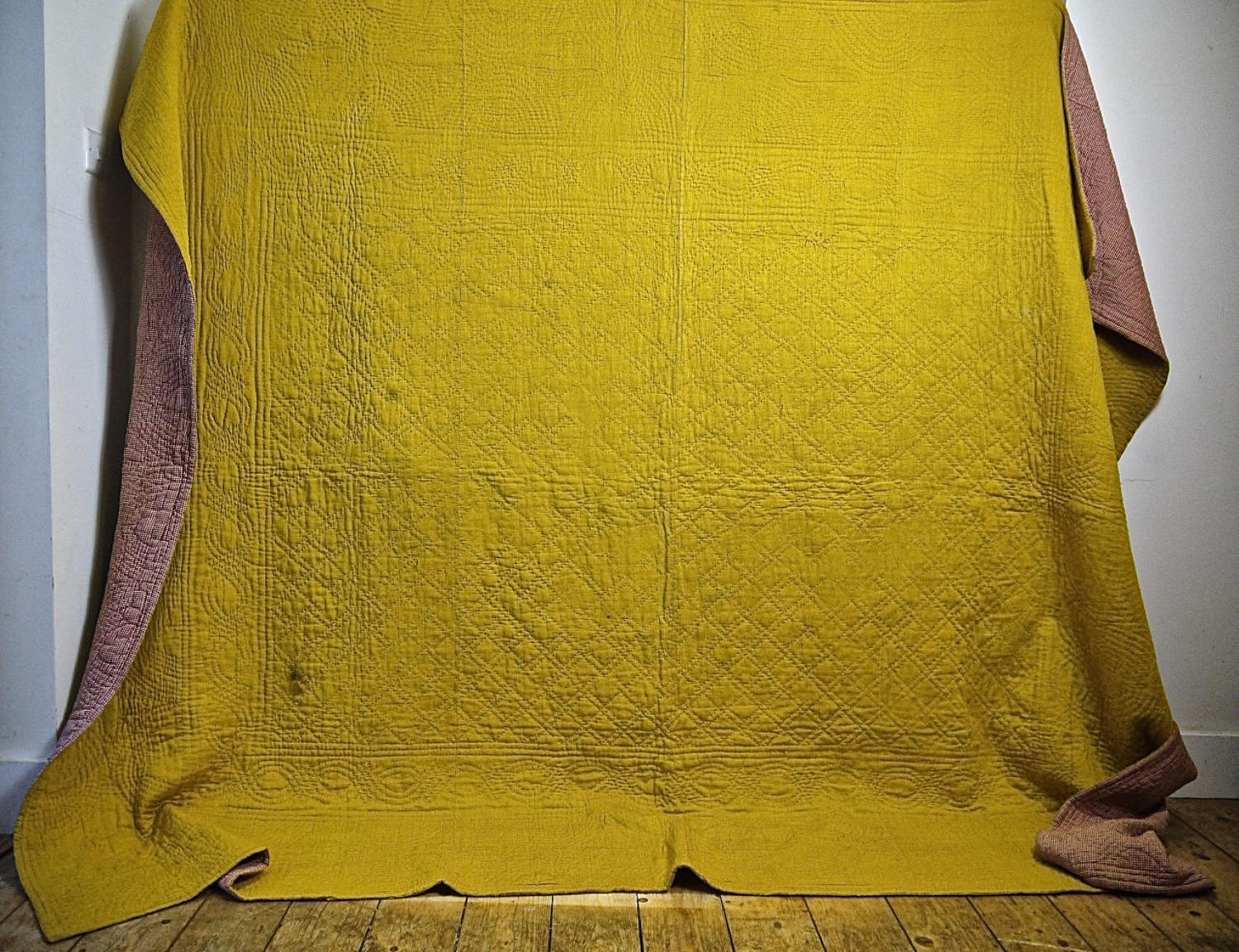 Saffron Yellow Silk Bourette de Soie Quilt French 19th Century