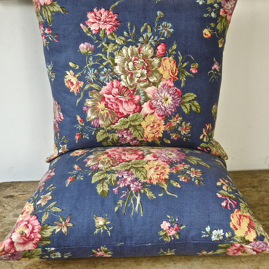 Pair of Flowery Print Cotton Cushions French c.1940s Cushions