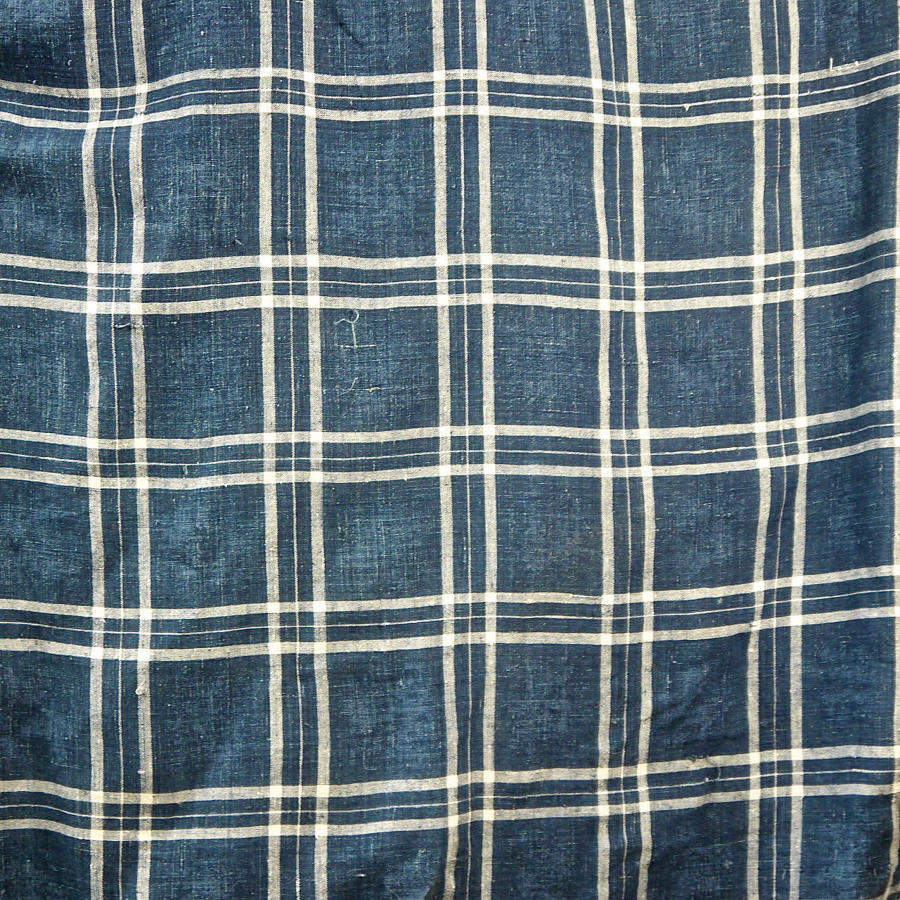 Indigo Checked Linen Mattress Cover French 18th Century