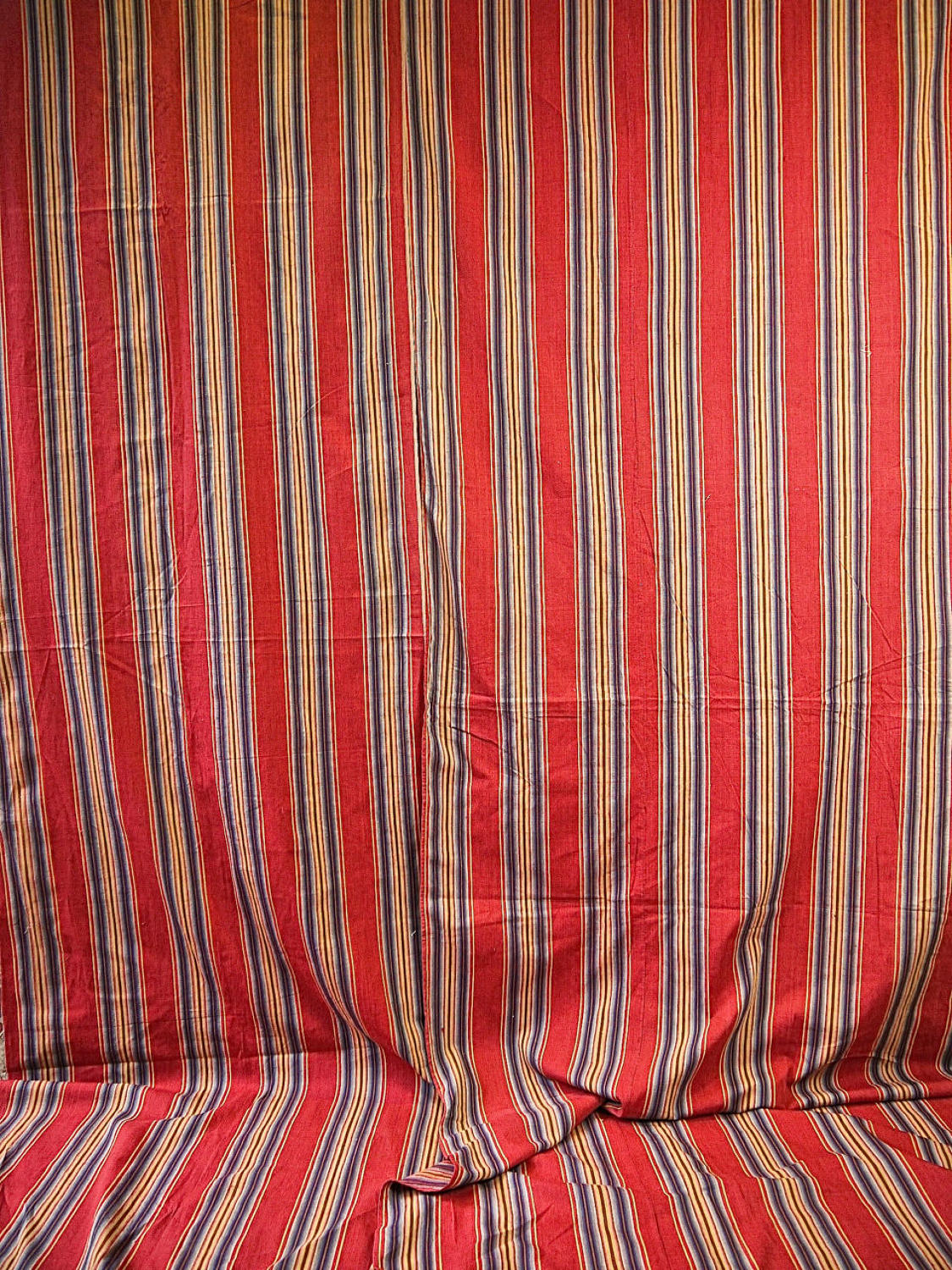 Red Blue Striped Cotton Textile French 18th Century
