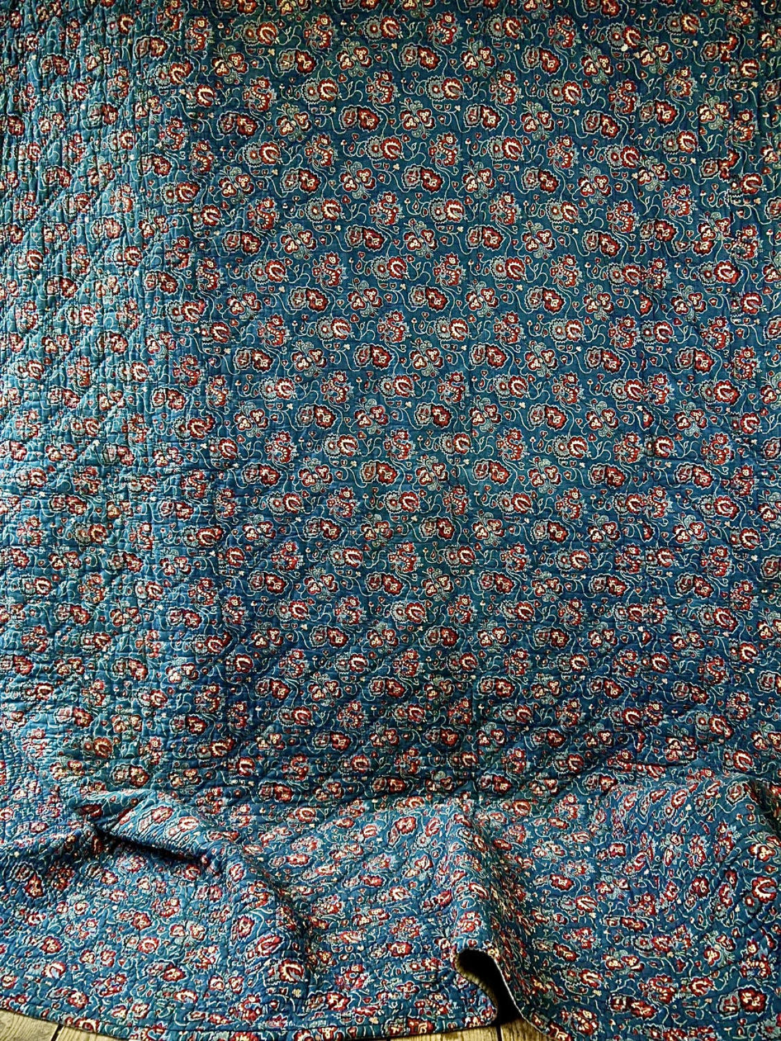 Indigo and Red Blockprinted Cotton Quilt French Early 19th Century