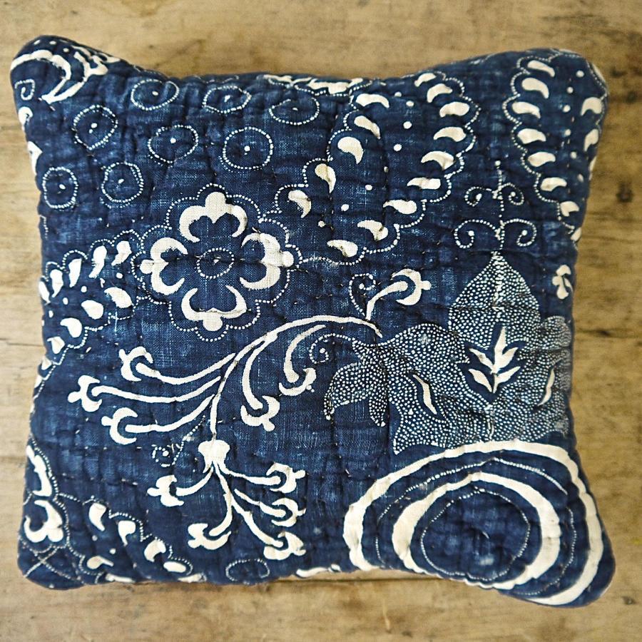 Indigo Resist Blockprinted Cotton Lavender Square