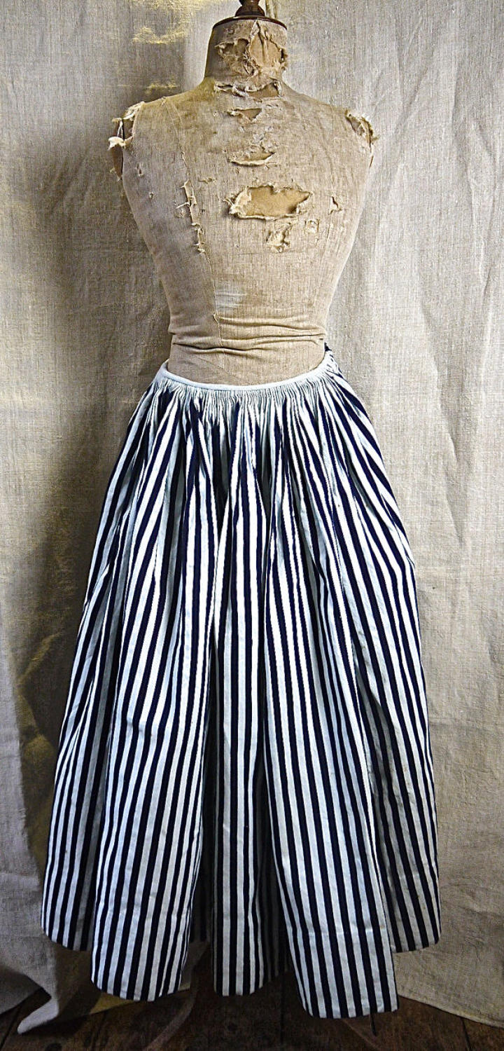 Indigo Striped Cotton Jupon French 19th Century