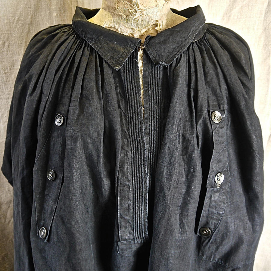 Indigo Linen Biaude Smock French Late 19th Century