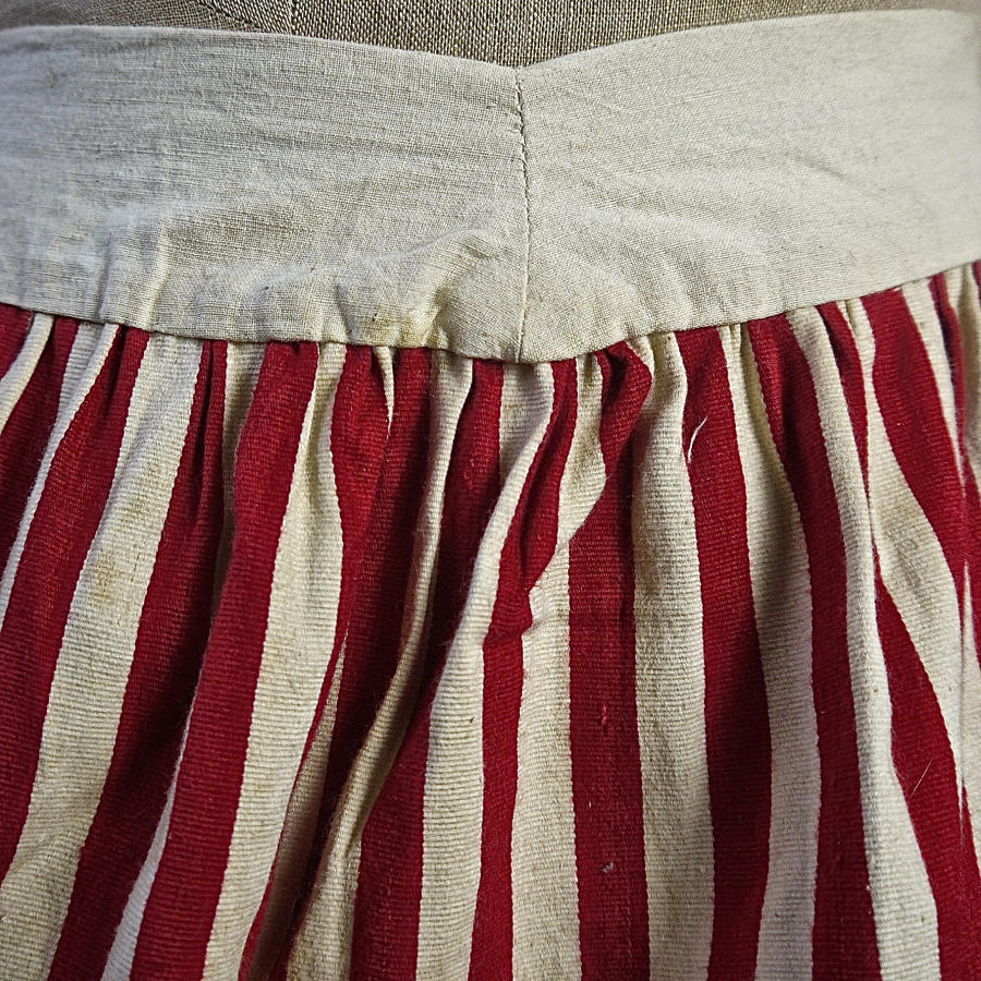Red Striped Cotton Jupon French 19th Century