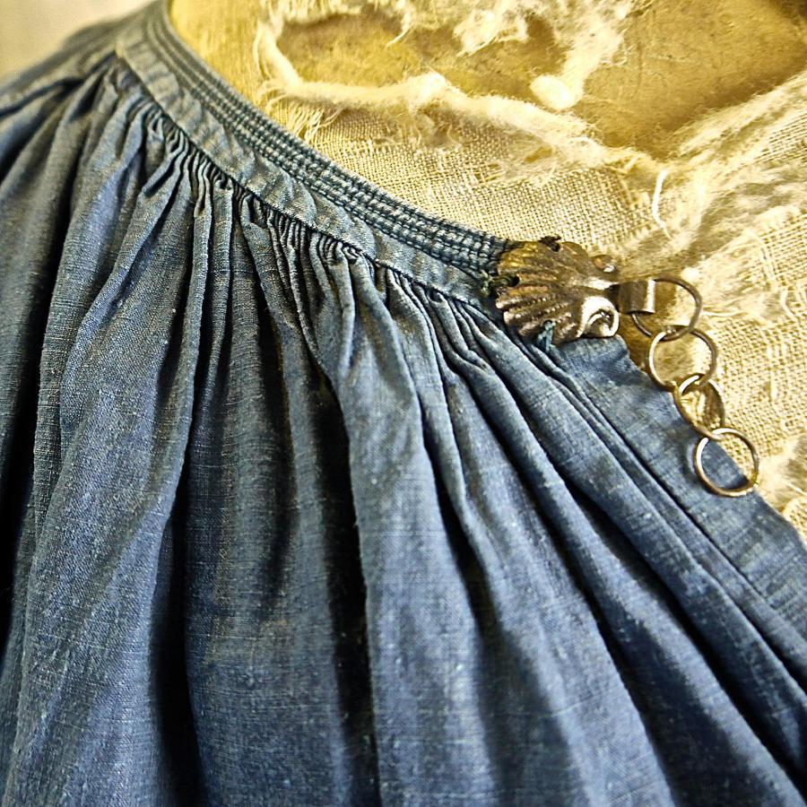 Faded Indigo Linen Biaude French 19th Century
