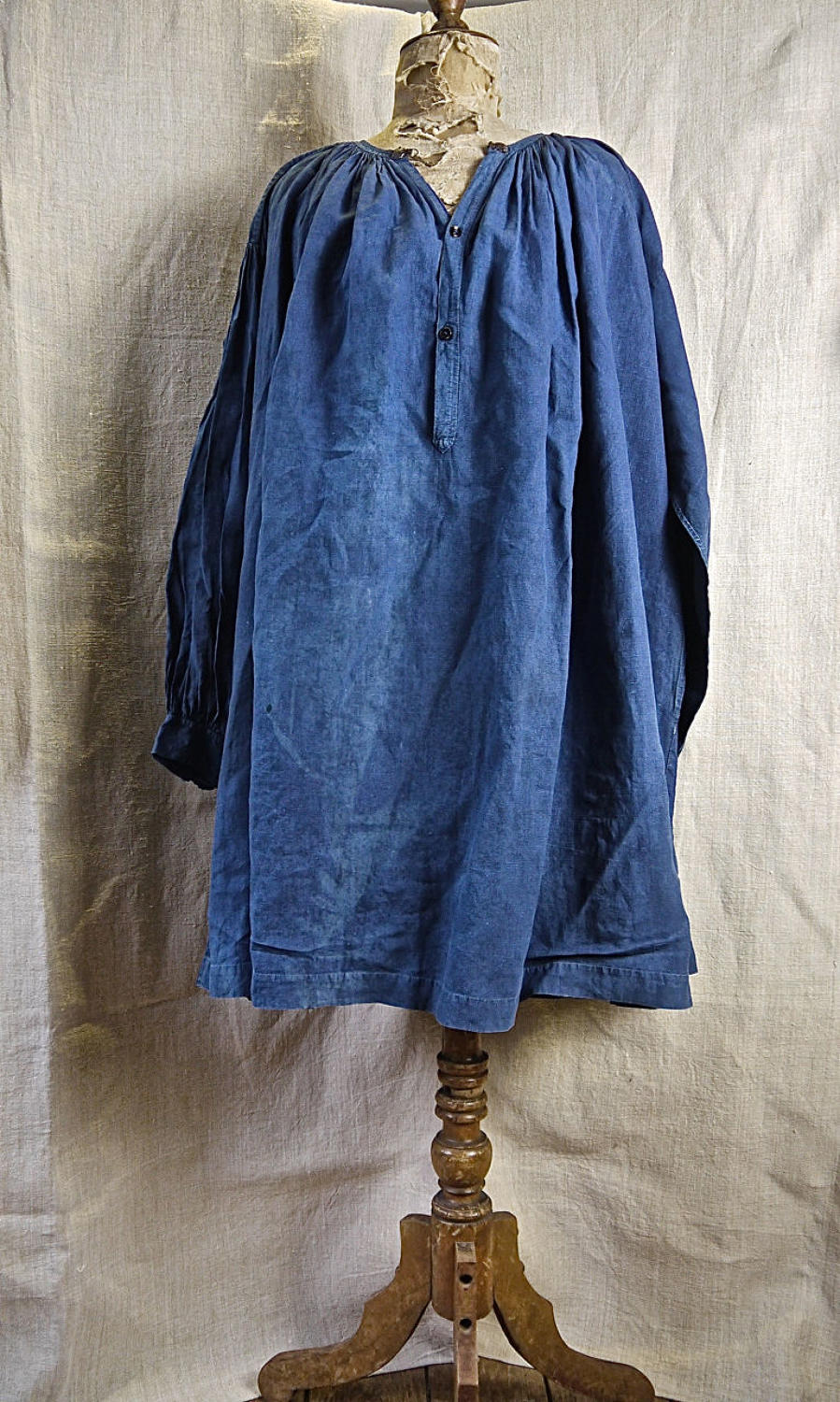 Faded Indigo Linen Biaude French 19th Century