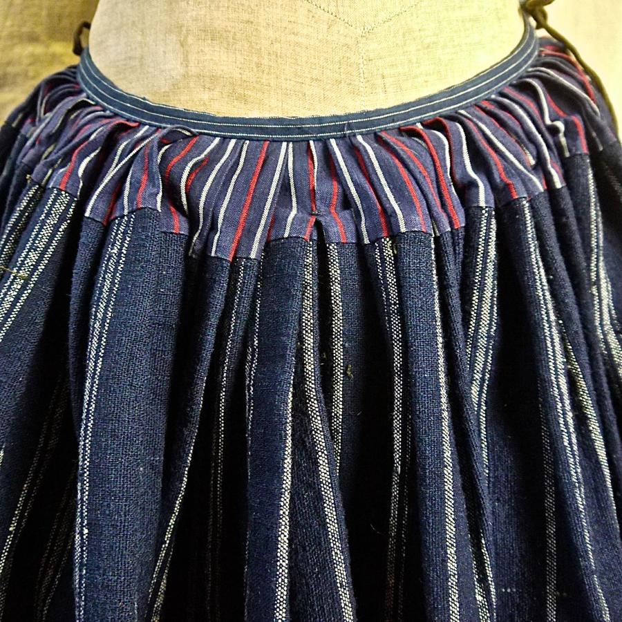 Indigo Striped Wool Linen Skirt French 19th Century