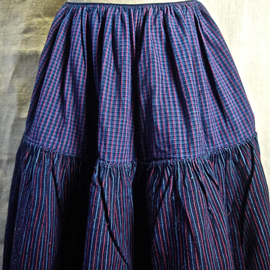 Indigo Red Striped Linen Cotton Jupon French 19th century