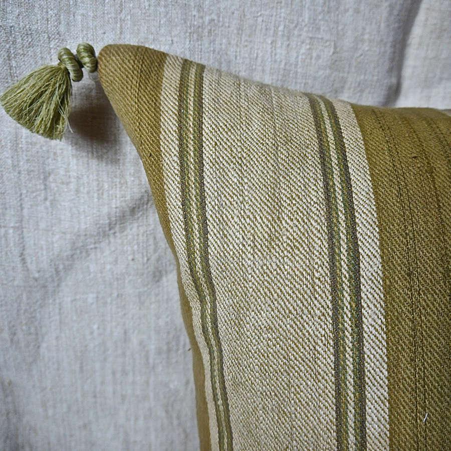 Green Stripe Silk Cushion French 18th Century
