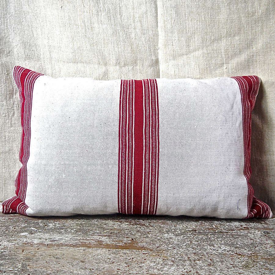 Red and White Striped Cotton Cushion French 19th Century