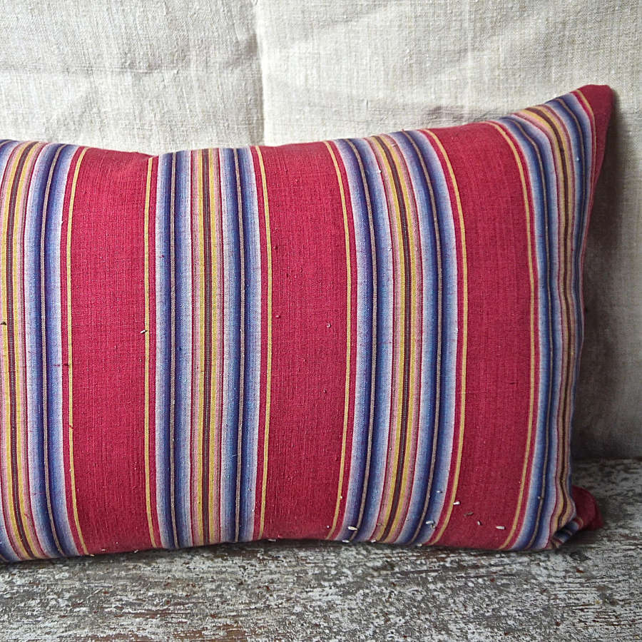 Red Indigo Striped Cotton Cushion French 18th Century 63