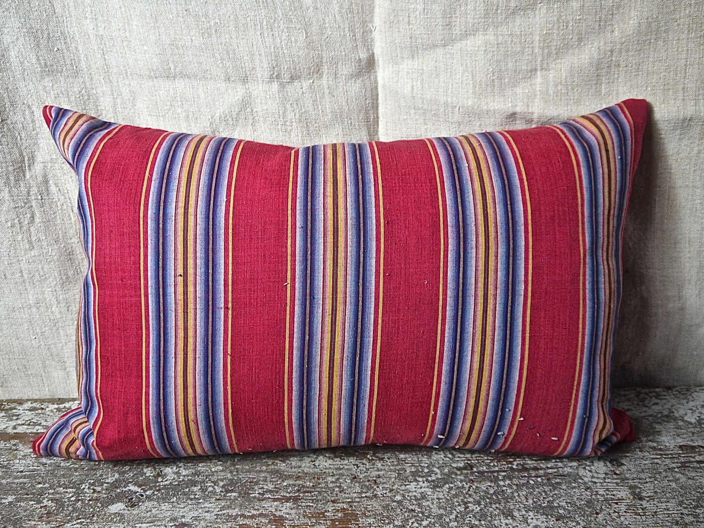 Red Indigo Striped Cotton Cushion French 18th Century 63