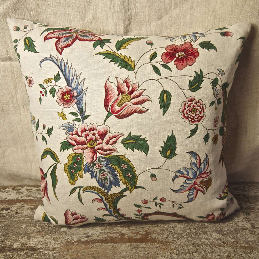 Red Pink Floral Linen Cushion French c.1940s