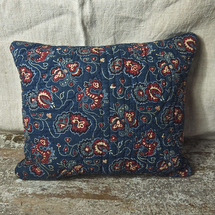 Indigo and Red Quilted Cotton Cushion French c.1790s