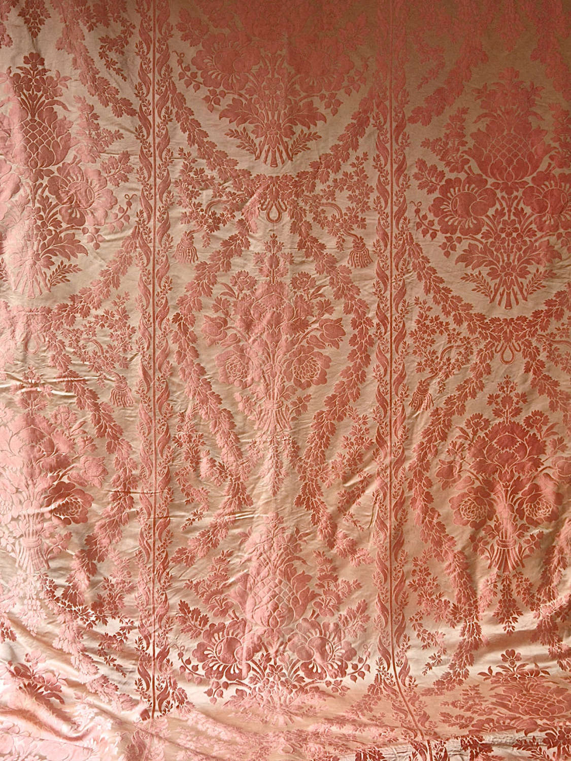 Salmon Pink Coral Damask Silk Single Curtain French 19th Century