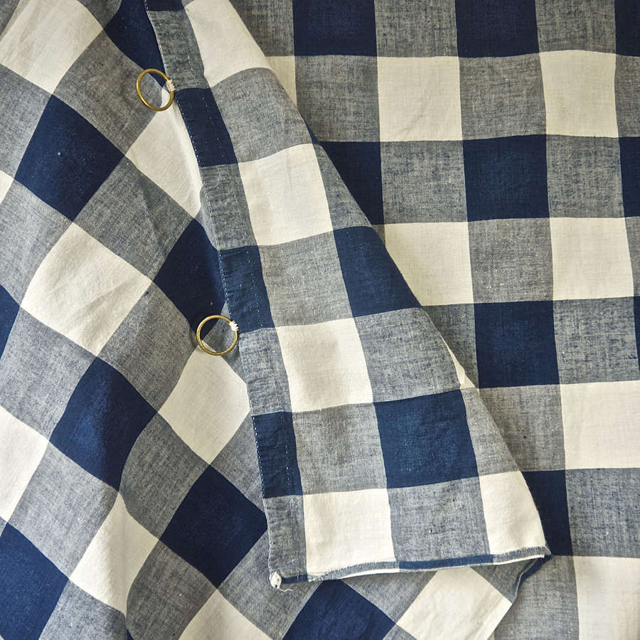 Blue and White Vichy Checked Curtain French 19th Century