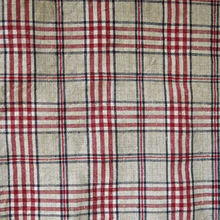 Red Beige Checks Linen Kelsch Duvet French 19th Century