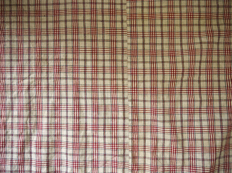 Red Beige Checks Linen Kelsch Duvet French 19th Century