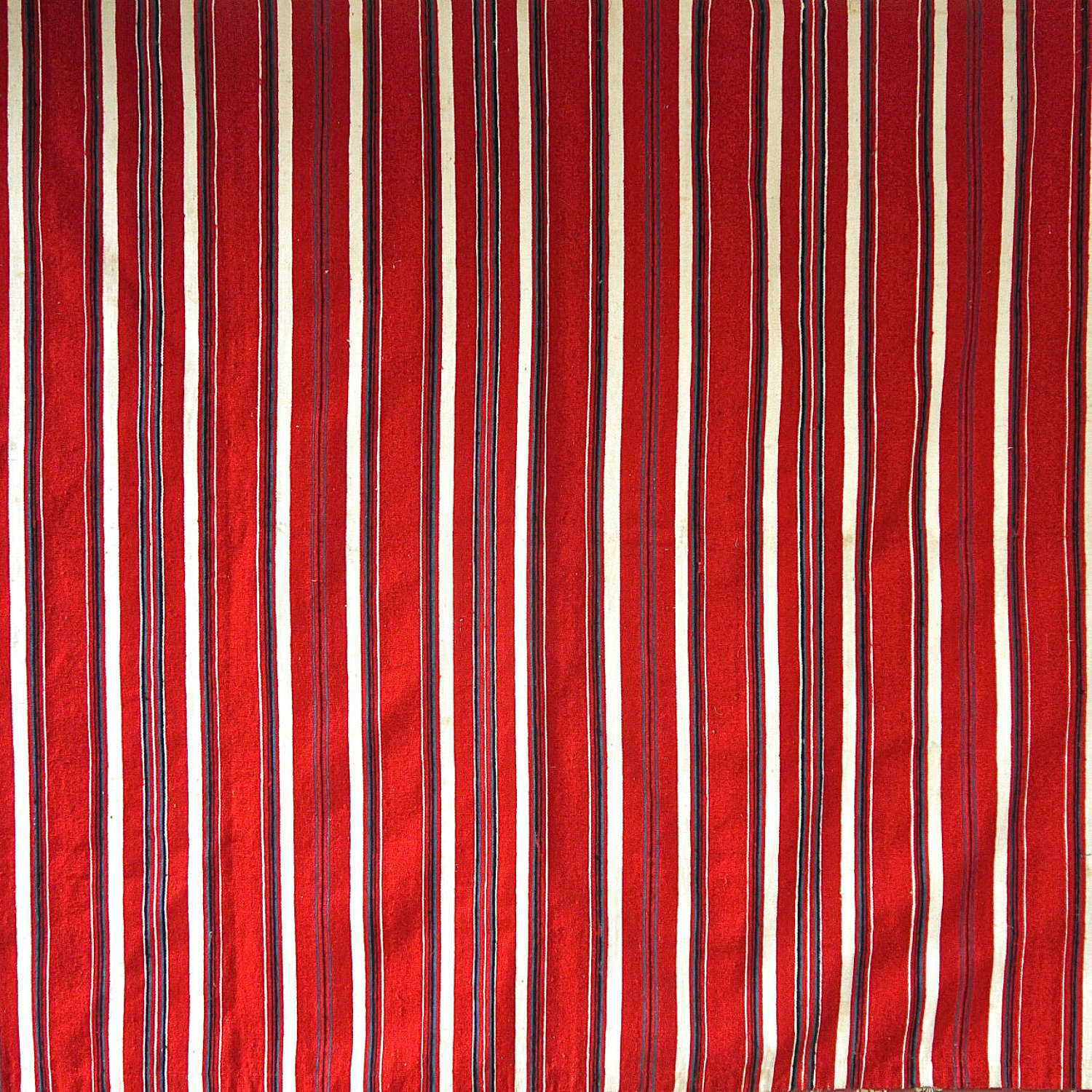 Red White Stripe Wool Linen Droguet Textile French 19th Century