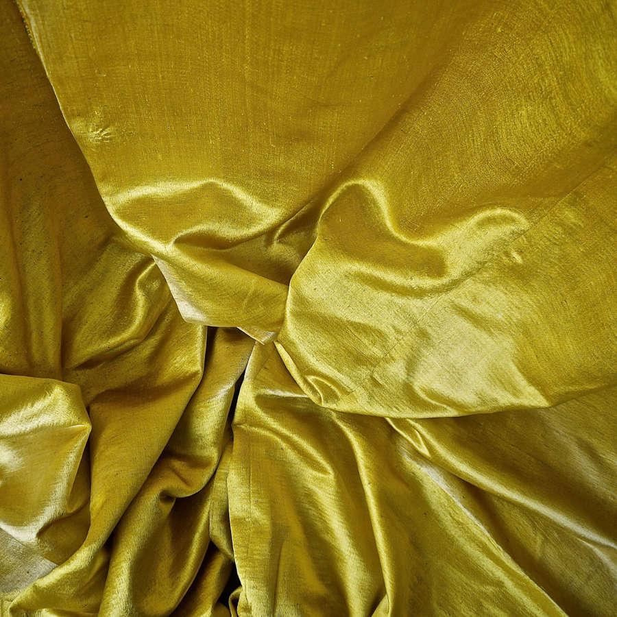 Pair of Saffron Yellow Bourette de Soie Panels French 18th Century