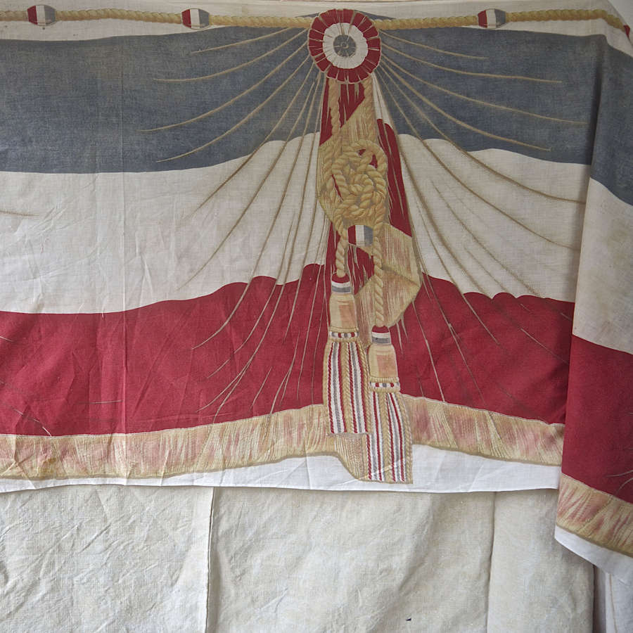 Trompe L'Oeil 14th Juillet Cotton Banner French 19th Century