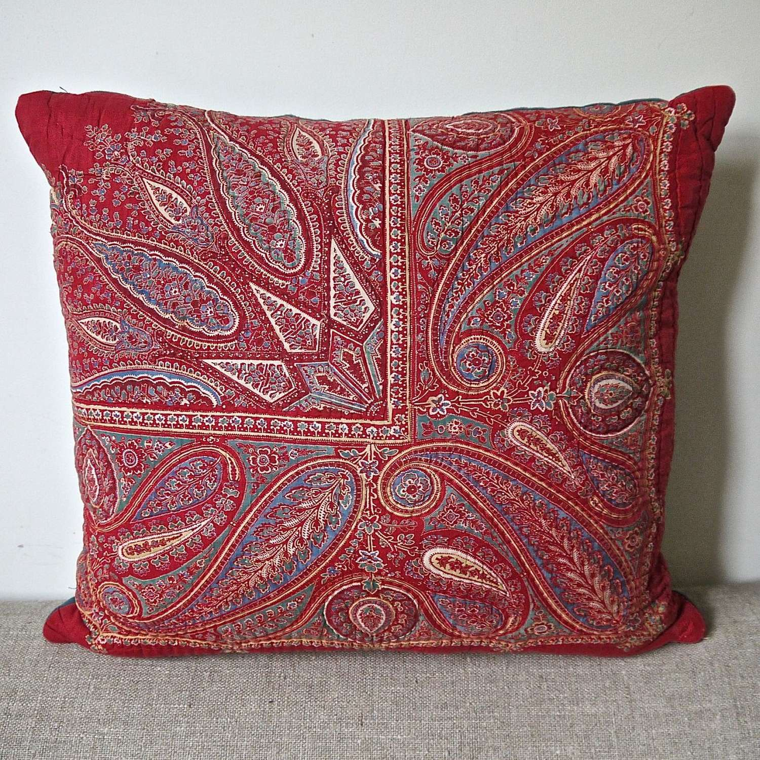 Red Paisley Blockprinted Cotton Cushion French 19th Century