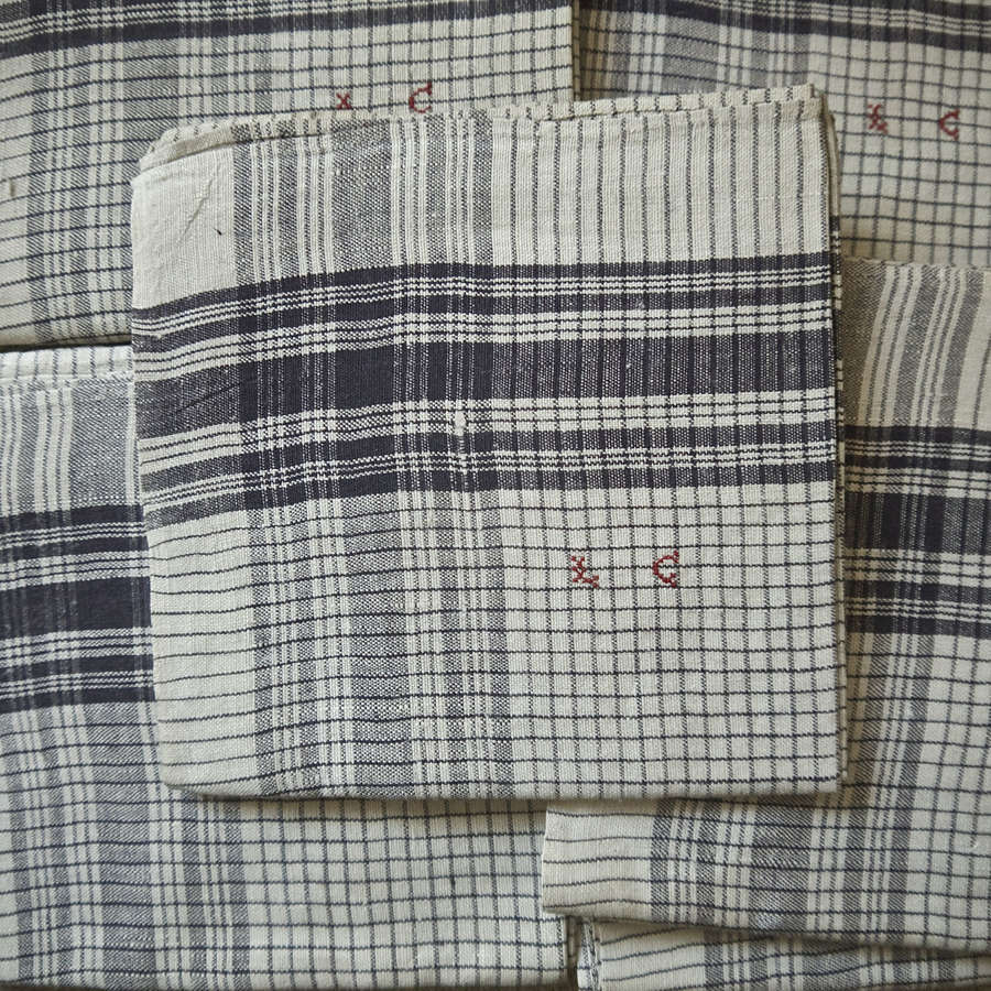 Set of Six LC Monogrammed Linen Mouchoirs French 19th CenturyP