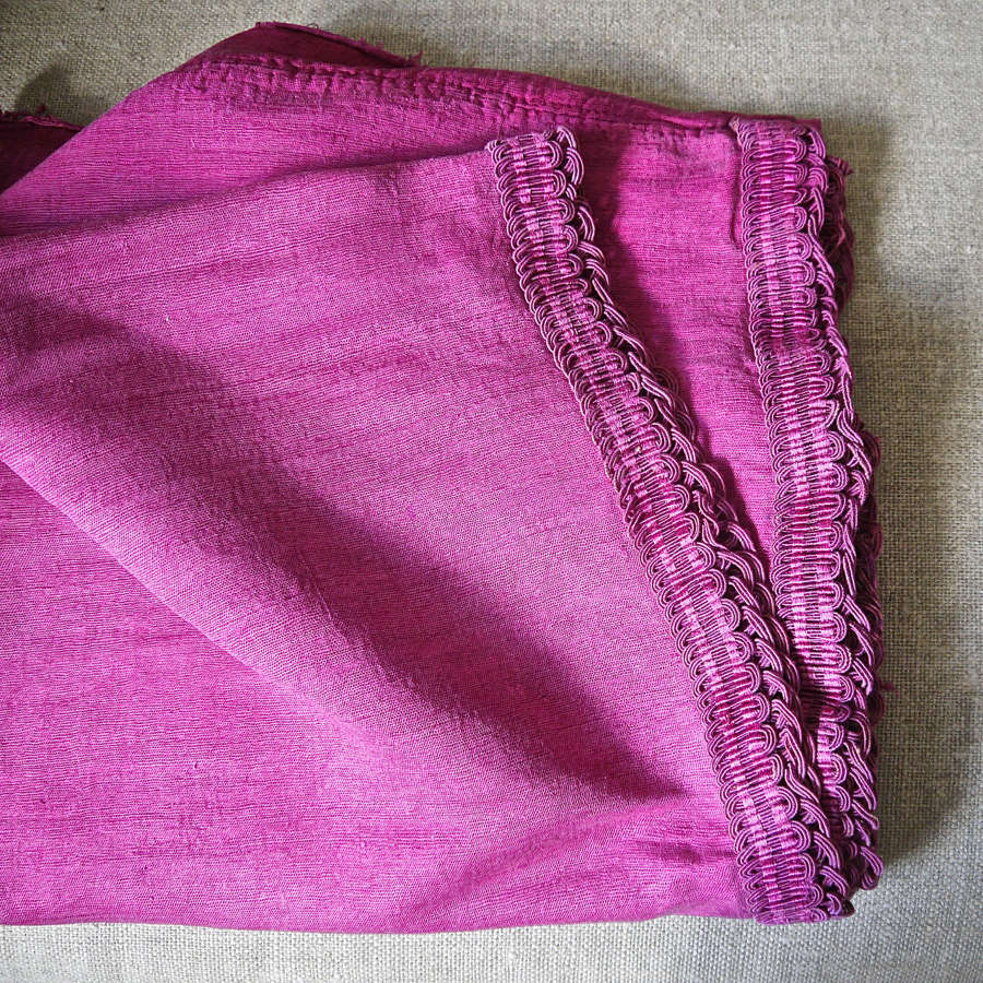 Rasberry Pink Bourette de Soie Panels French 18th Century