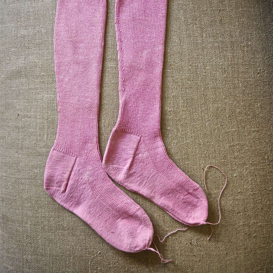 Long Pink Hand Knitted Cotton Socks French 19th Century