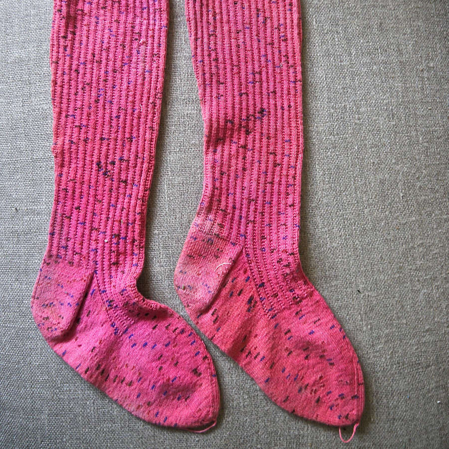 Speckled Pink Handknitted Cotton Socks French 19th