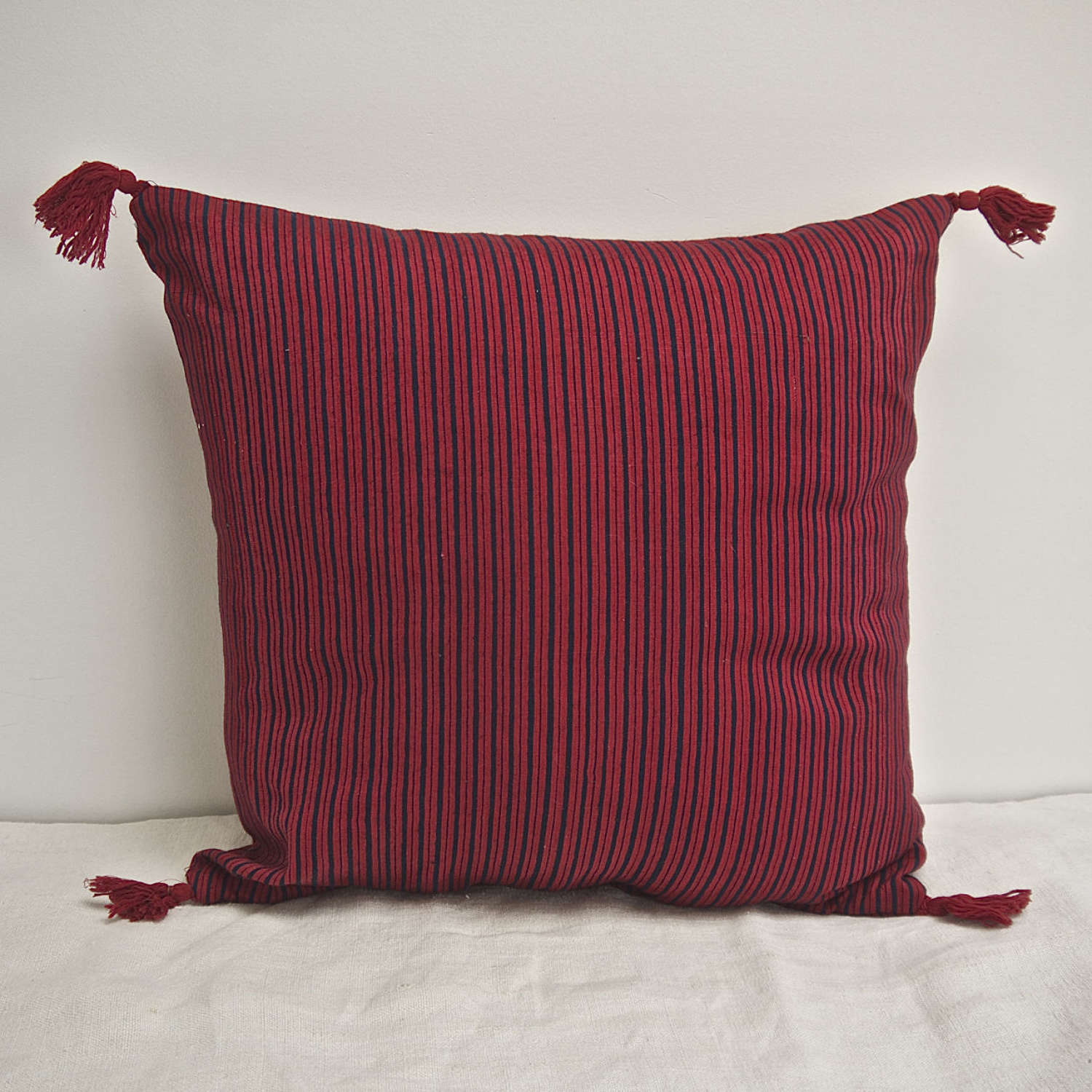 Red and Indigo Striped Cotton Cushion French 19th Century