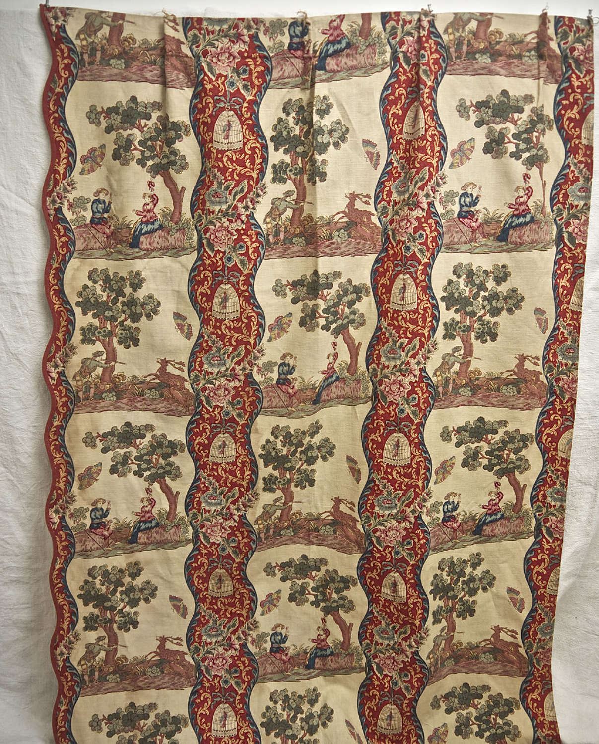 Scalloped Edged Linen Curtain French 19th Century