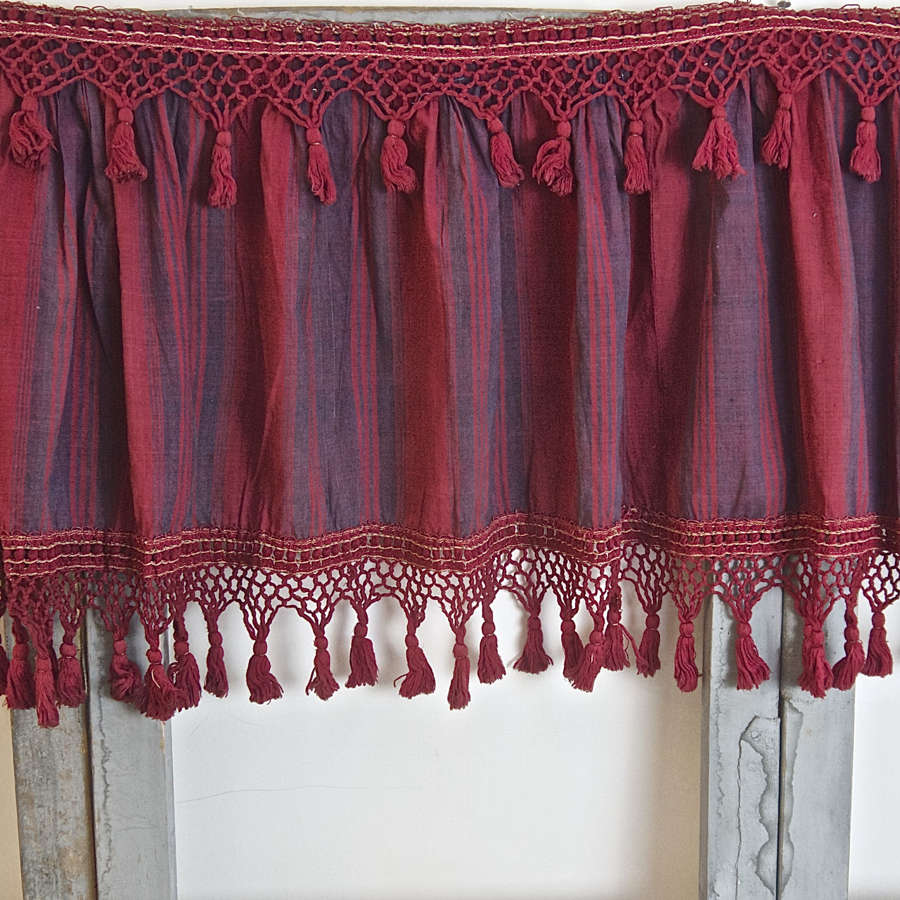 Red Indigo Stripe Pelmet French 18th Century