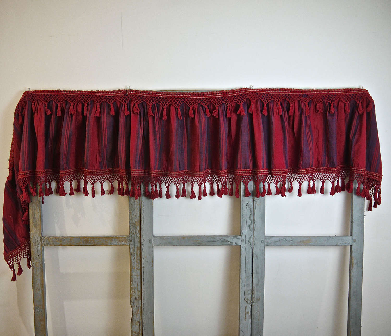 Red Indigo Stripe Pelmet French 18th Century