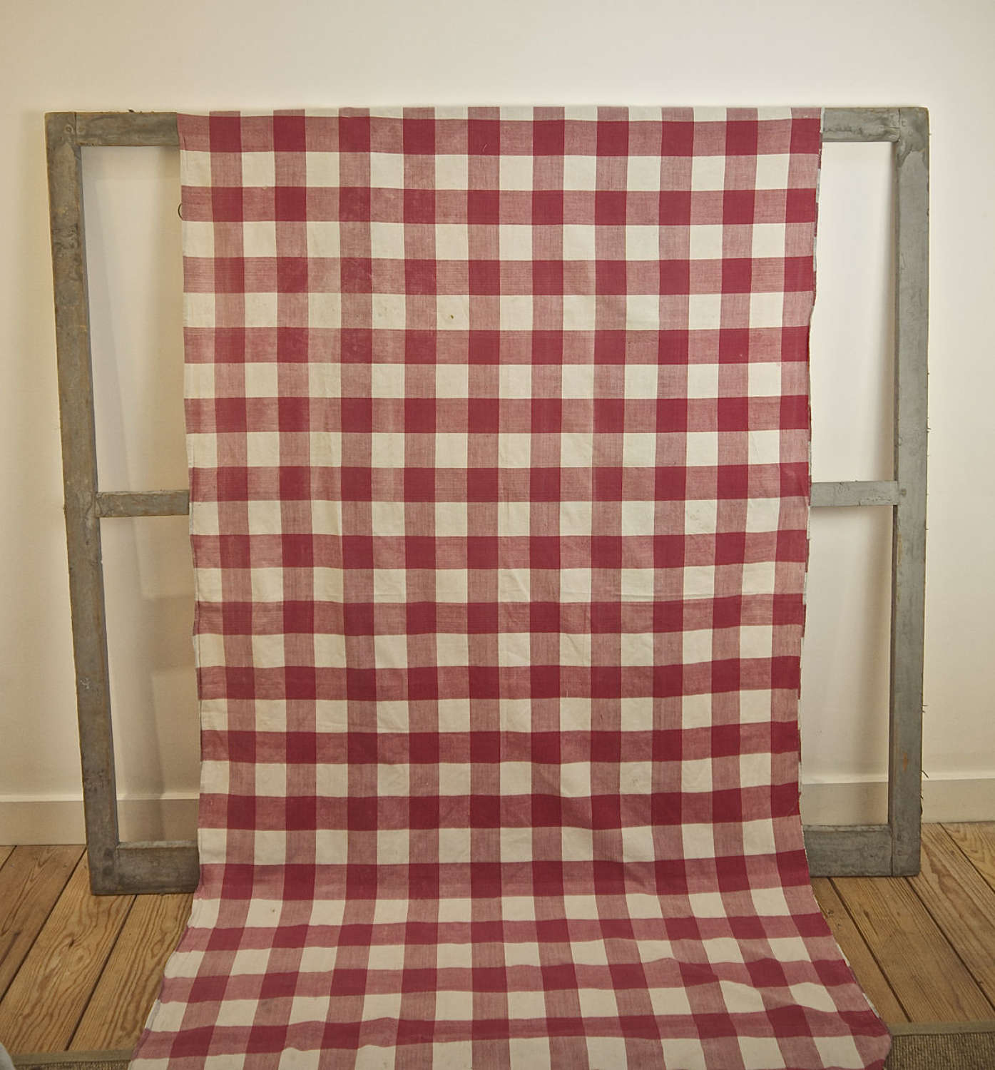 Red and White Vichy Check Cotton Curtain French 19th Century