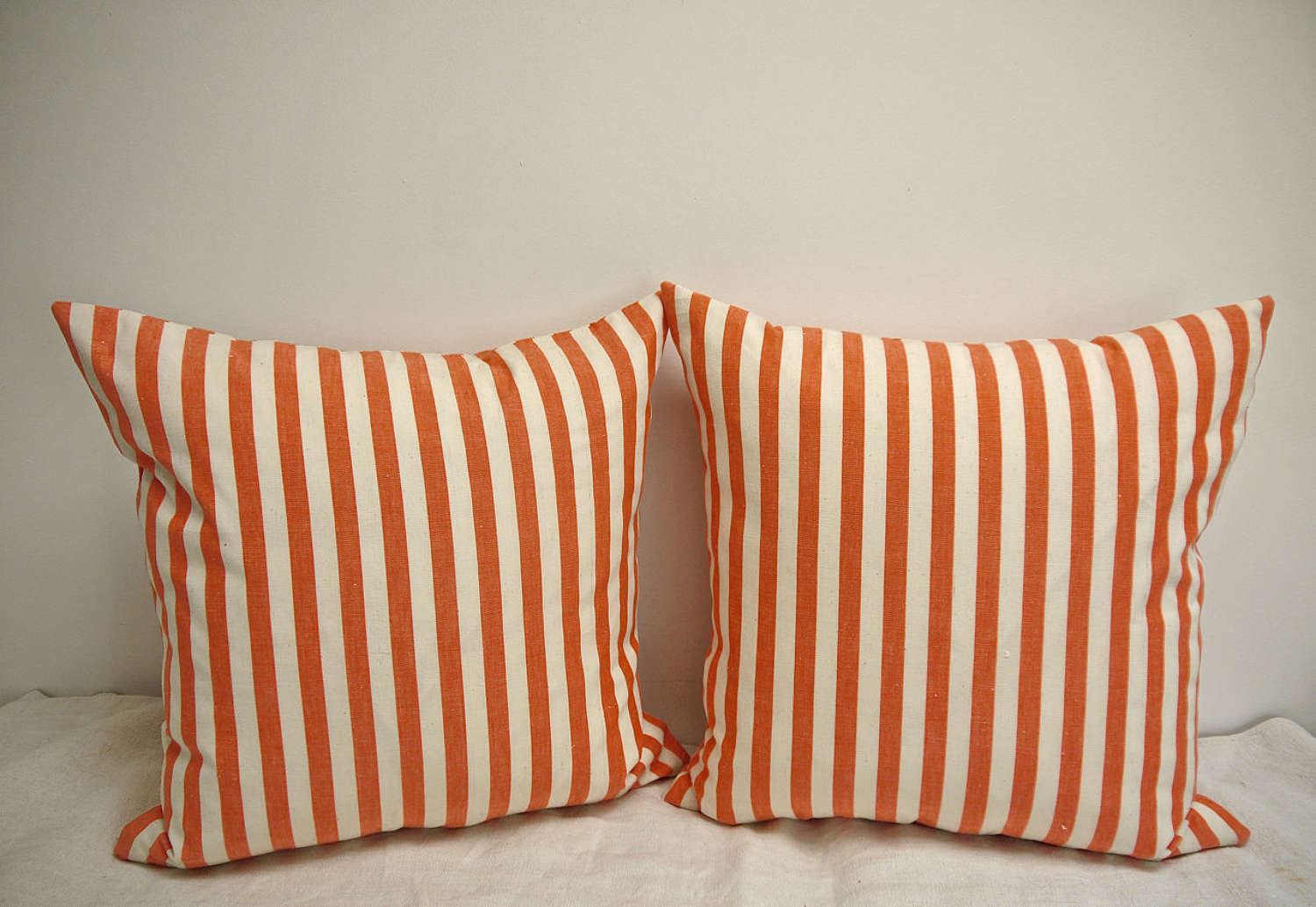 Orange and White Striped Cotton Cushion French 1920s