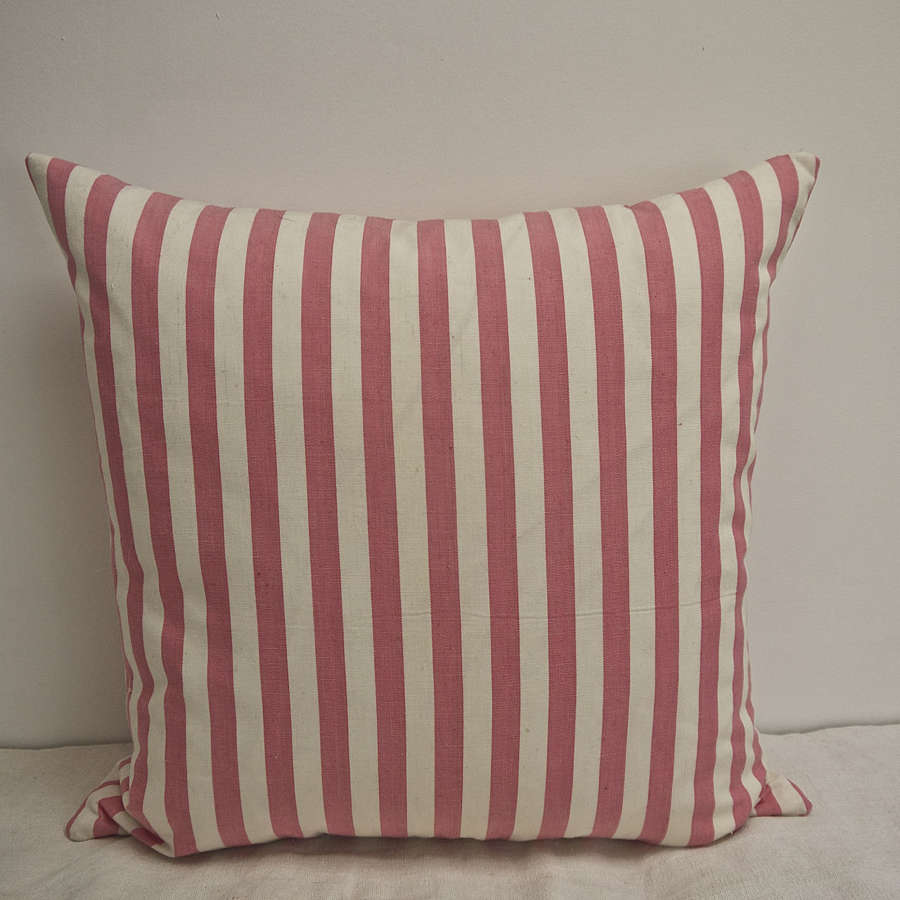 Pink and White Stripe Cotton Cushion French C.1920s