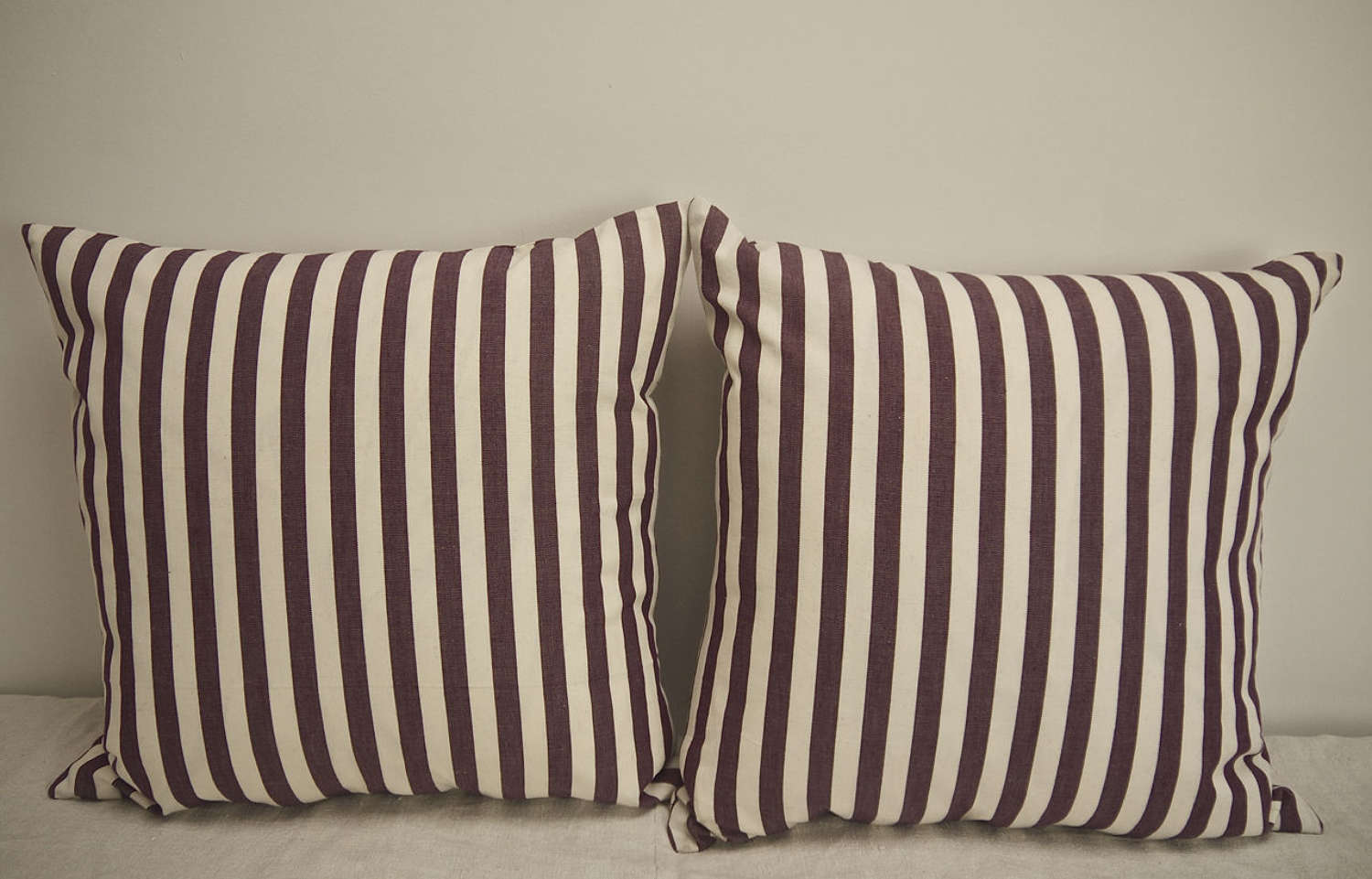 Purple and White Striped Cotton Cushions French 1920s