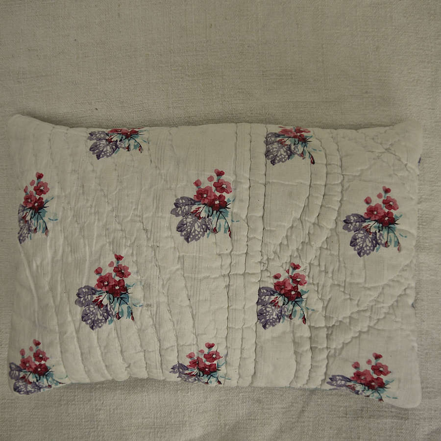 Pretty Print Small Lavender Cushion French 19th Century