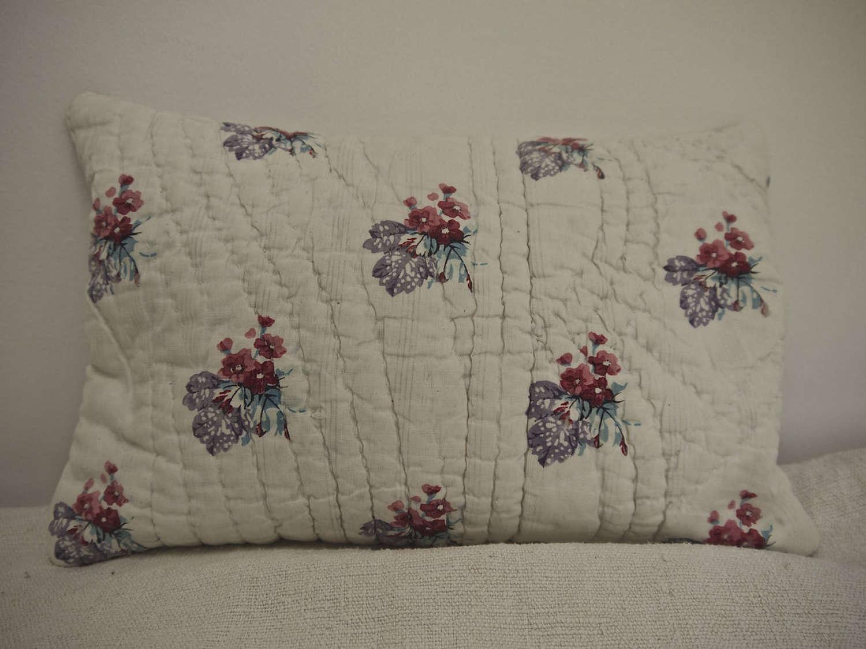 Pretty Print Small Lavender Cushion French 19th Century