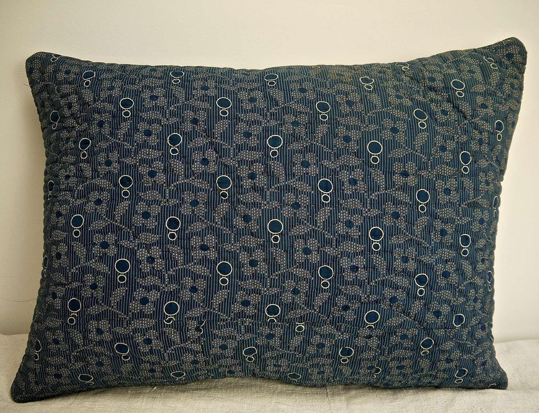 Indigo Print Cotton Cushion French 19th Century
