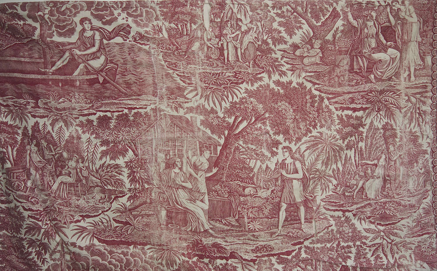 Red Toile Document Swiss 18th Century