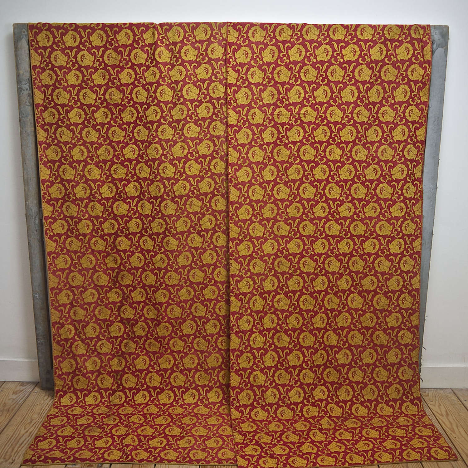 Saffron Yellow and Red Silk Panels French 18th Century