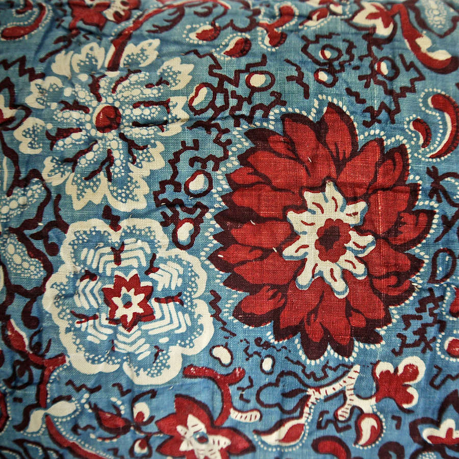 Red Blue Flowers Lavender Cushion French 19th Century