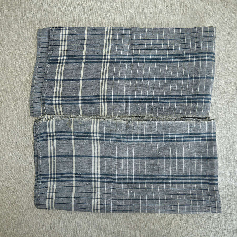 Blue Check Linen Mouchoir French 19th Century