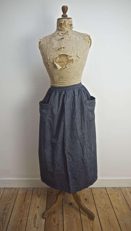 Indigo Cotton Apron French 19th Century