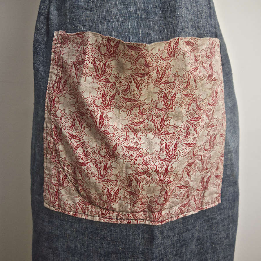 Red Print Pocket Indigo Linen Apron French 19th Century